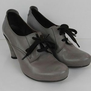 Gray Leather Lace Up Ankle Booties by Chocolate